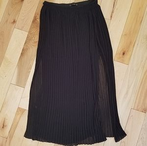 Zara pleated half slip maxi skirt with slits